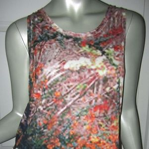 CARVEN Orange/Multi Blurry Print Sleeveless Blouse